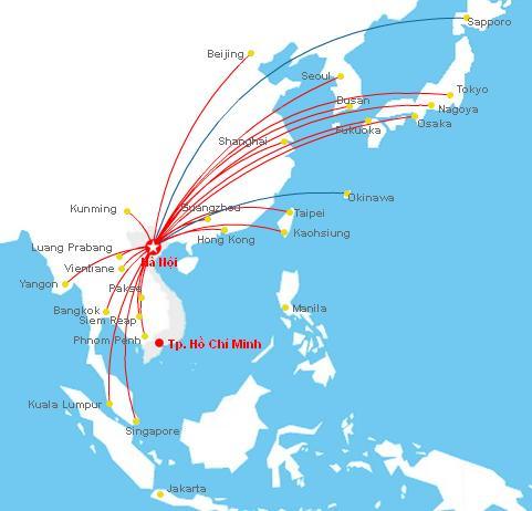 đường bay của hãng hàng không vietnam airlines